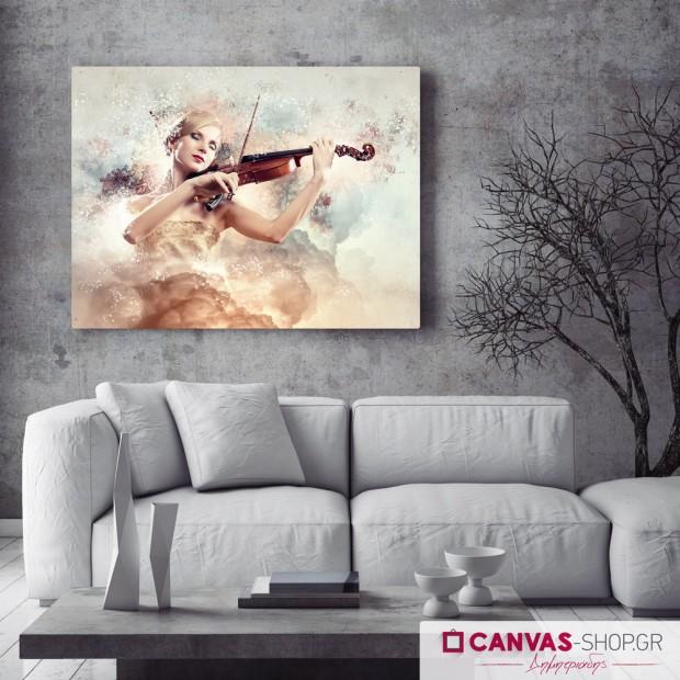 Γυναίκα με βιολί, πίνακας σε καμβά