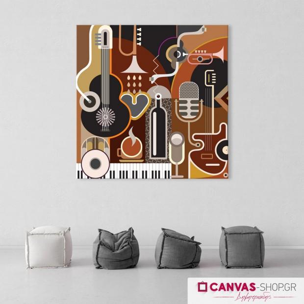 Μουσικά όργανα, πίνακας σε καμβά