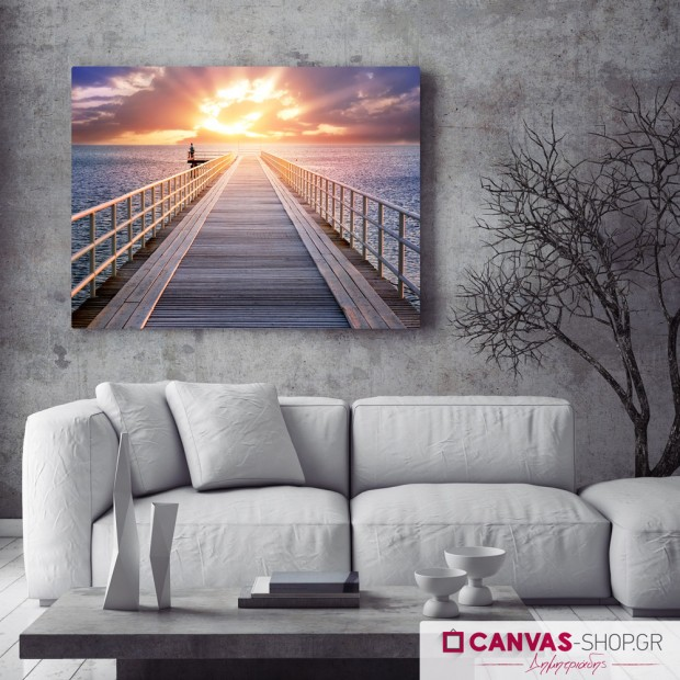 Αποβάθρα-Ηλιοβασίλεμα , πίνακας σε καμβά