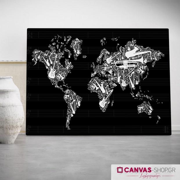 Παγκόσμιος Χάρτης Μουσικής, πίνακας σε καμβά