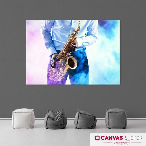 Σαξοφωνίστας, πίνακας σε καμβά