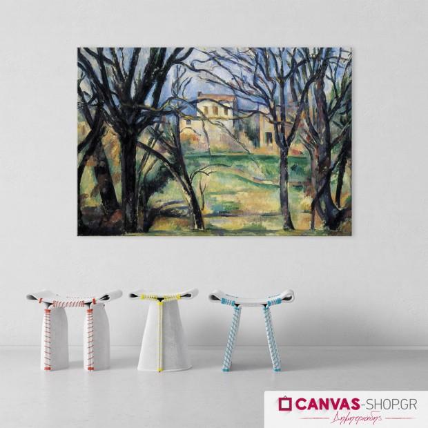 Paul Cézanne: Δέντρα και Σπίτια, πίνακας σε καμβά