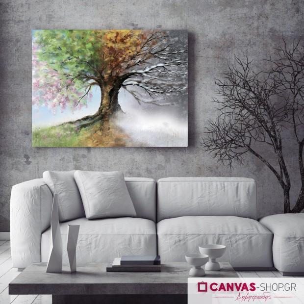 Δένδρο τέσσερις εποχές , πίνακας σε καμβά