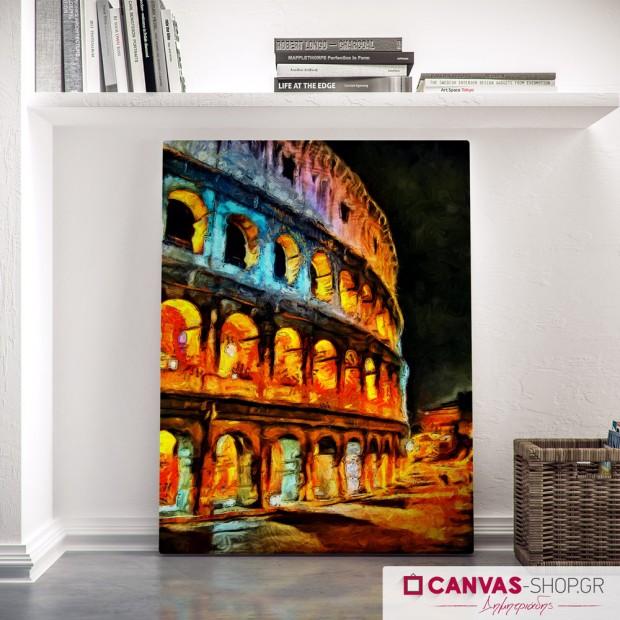 Πολύχρωμο φωτισμένο Κολοσσαίο, πίνακας σε καμβά