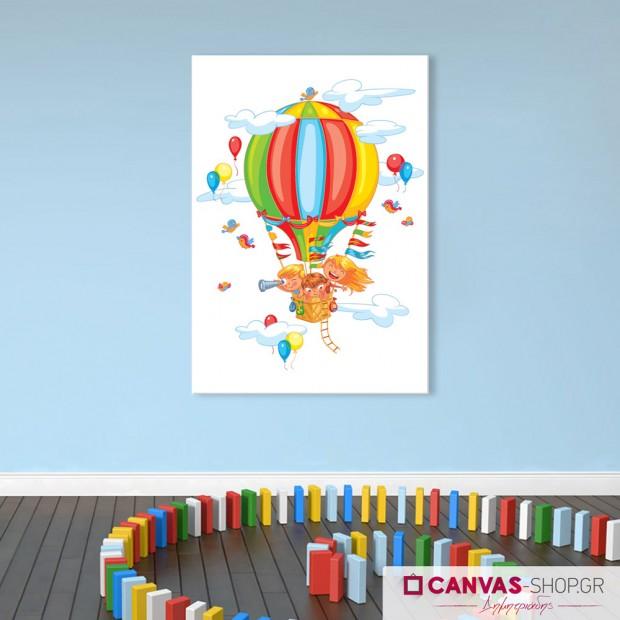 Παιδιά σε αερόστατο, πίνακας σε καμβά