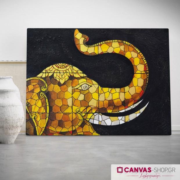 Ψηφιδωτό Ελέφαντας, πίνακας σε καμβά