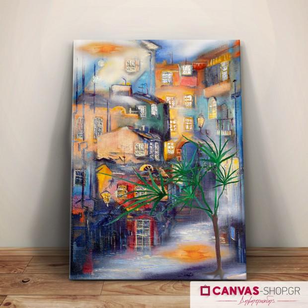 Πόλη, πίνακας σε καμβά