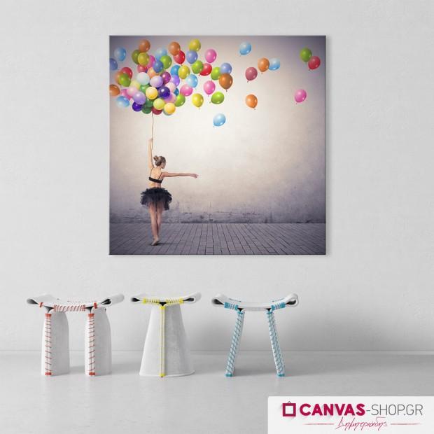 Μπαλαρίνα με Μπαλόνια , πίνακας σε καμβά
