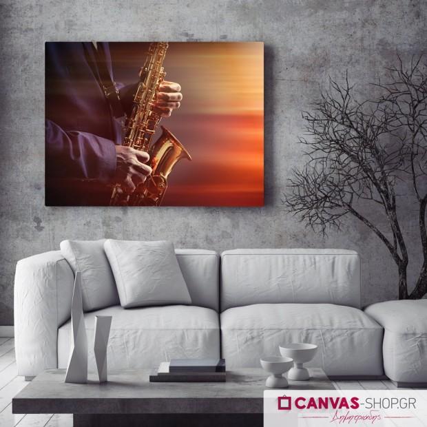 Σαξοφωνίστας , πίνακας σε καμβά