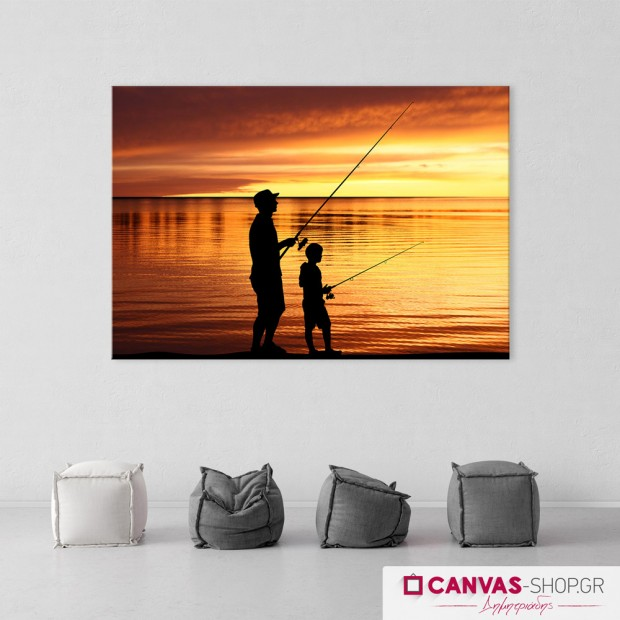 Ψάρεμα, πίνακας σε καμβά