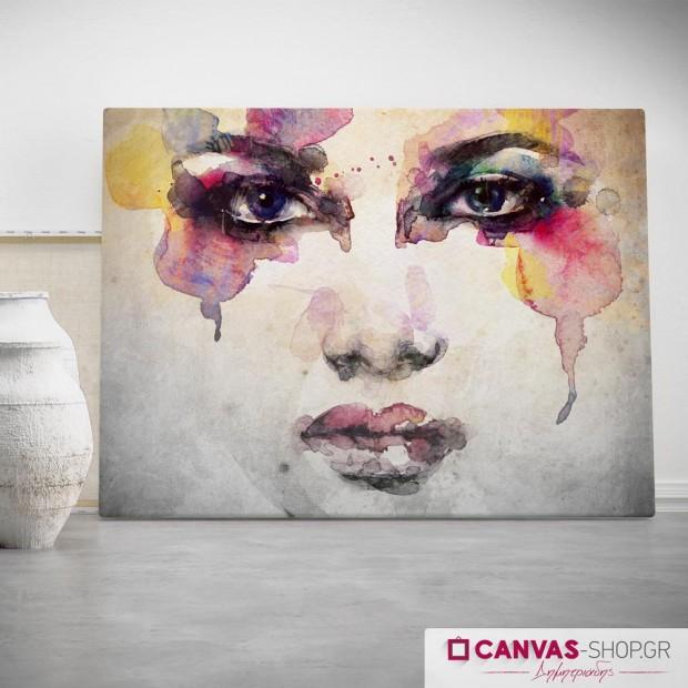 Γυναικείο Πορτρέτο με Χρώματα, πίνακας σε καμβά