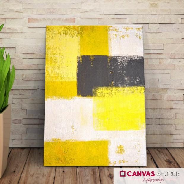 Κίτρινο Μαύρο Άσπρο , πίνακας σε καμβά