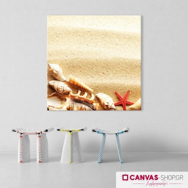 Κοχύλια - Αστερίας στην Άμμο , πίνακας σε καμβά