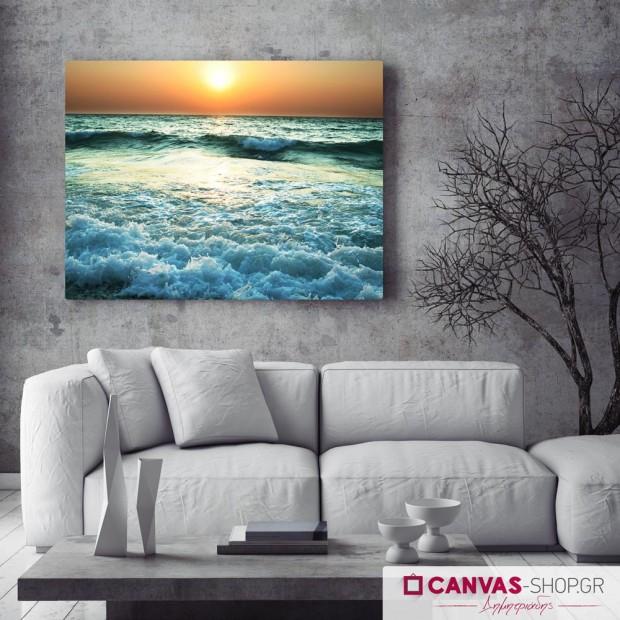 Ηλιοβασίλεμα Πάνω στα Κύματα , πίνακας σε καμβά
