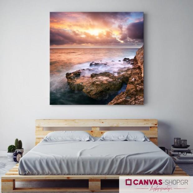 Ηλιοβασίλεμα με Σύννεφα , πίνακας σε καμβά