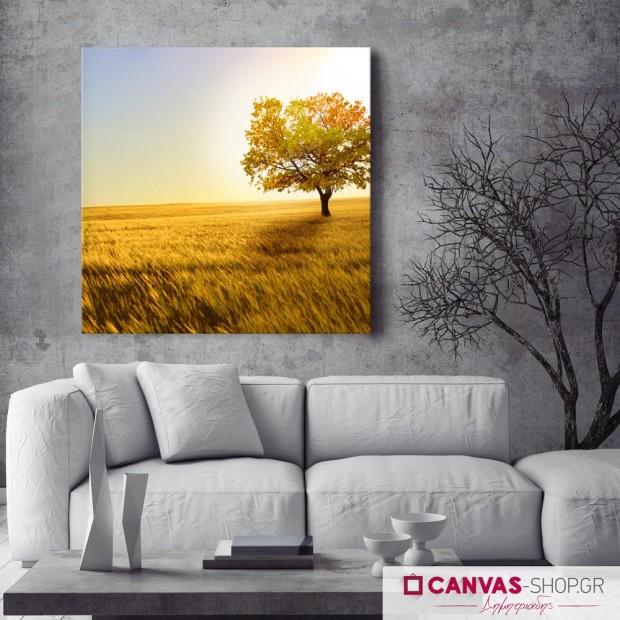 Μοναχικό Δένδρο , πίνακας σε καμβά