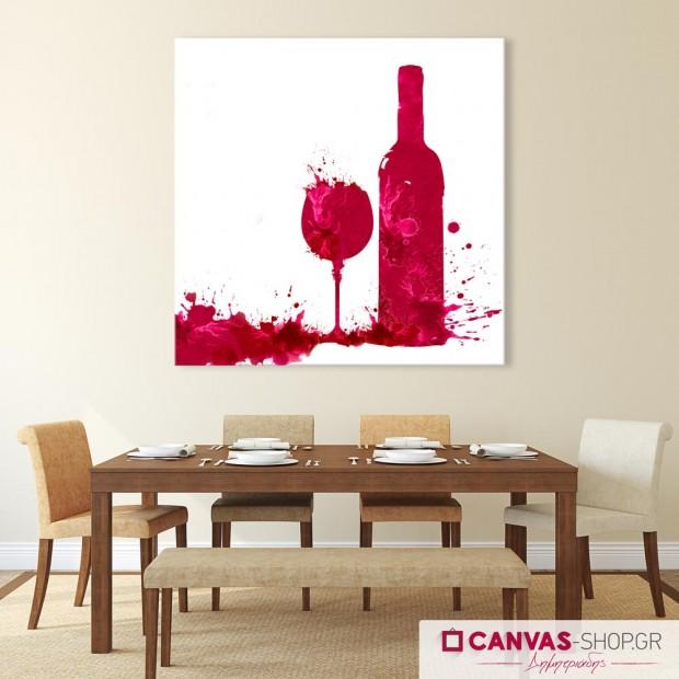 Κόκκινο Κρασί  Πινελιές , πίνακας σε καμβά