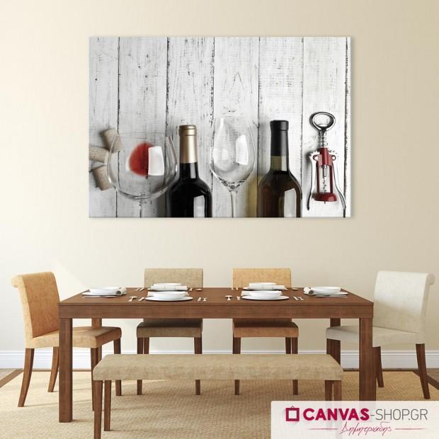 Μπουκάλια Κρασί , πίνακας σε καμβά