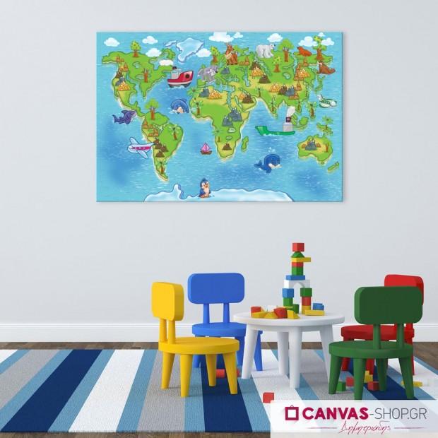 Παγκόσμιος Χάρτης, πίνακας σε καμβά
