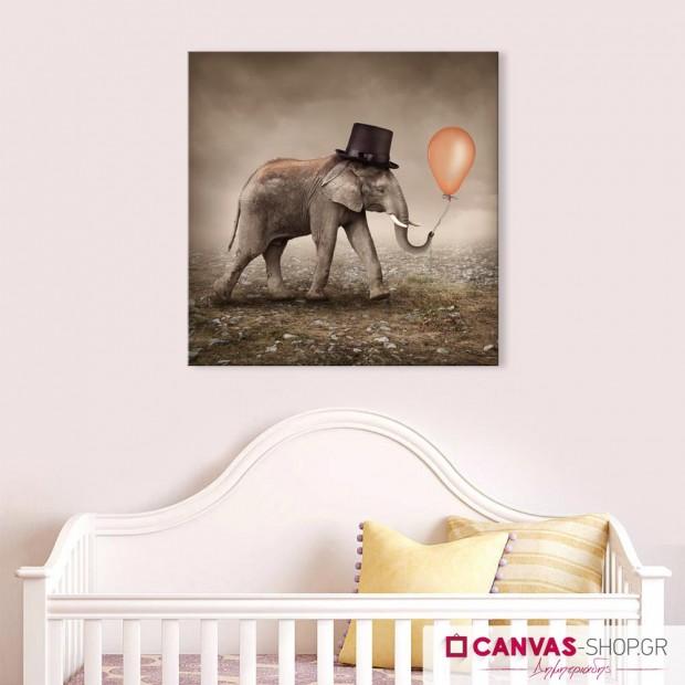 Ο Ελέφαντας και το Μπαλόνι, πίνακας σε καμβά