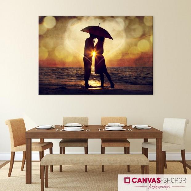 Φιλί στο Ηλιοβασίλεμα, πίνακας σε καμβά