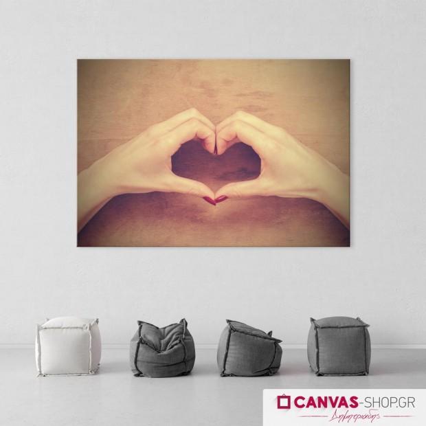 Χέρια που Σχηματίζουν Καρδιά, πίνακας σε καμβά