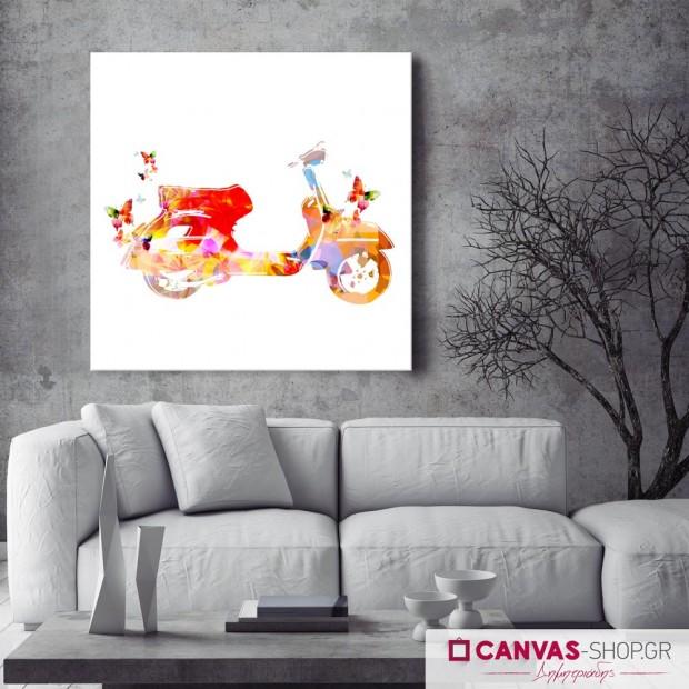 Vespa με Πεταλούδες , πίνακας σε καμβά