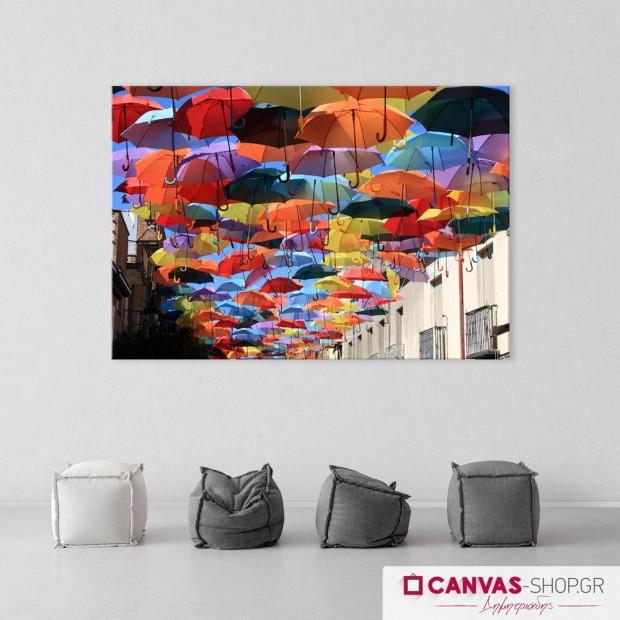 Πολύχρωμες Ομπρέλες , πίνακας σε καμβά