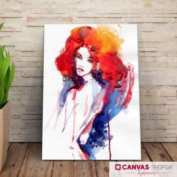 Γυναίκα με Υδρόχρωμα , πίνακας σε καμβά
