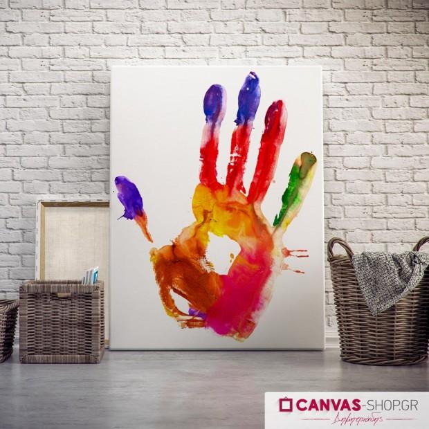 Παλάμη με χρώματα , πίνακας σε καμβά