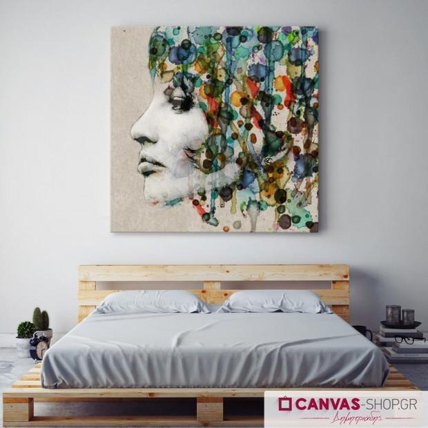 Γυναικείο Χρωματιστό Προφίλ , πίνακας σε καμβά