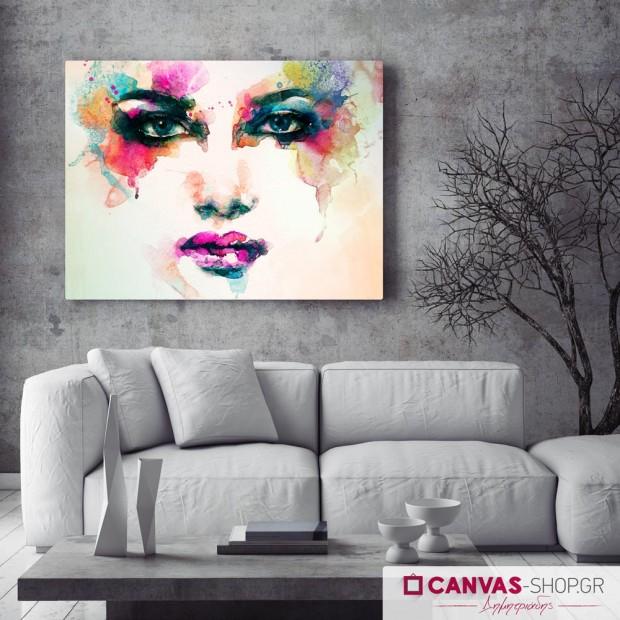 Γυναικείο Πορτρέτο με Υδρόχρωμα , πίνακας σε καμβά