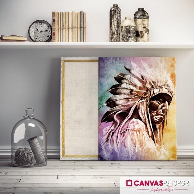 Ινδιάνος με Χρώματα , πίνακας σε καμβά