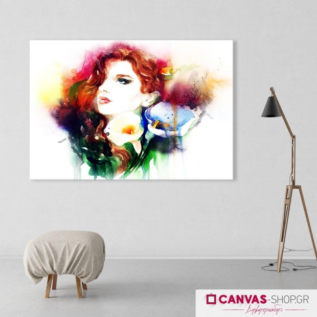Γυναίκα με Κρίνα, πίνακας σε καμβά
