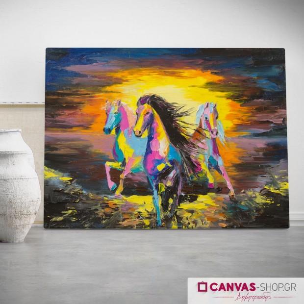 Άλογα, πίνακας σε καμβά