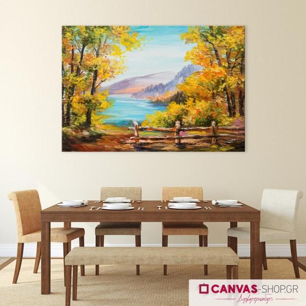 Λίμνη στο Δάσος, πίνακας σε καμβά