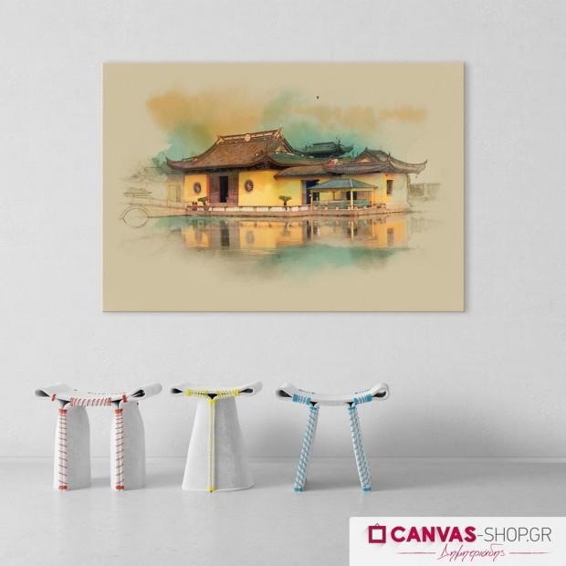Κινέζικο Κτίριο, πίνακας σε καμβά
