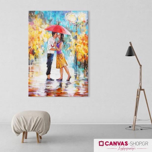 Φιλί στη Βροχή, πίνακας σε καμβά
