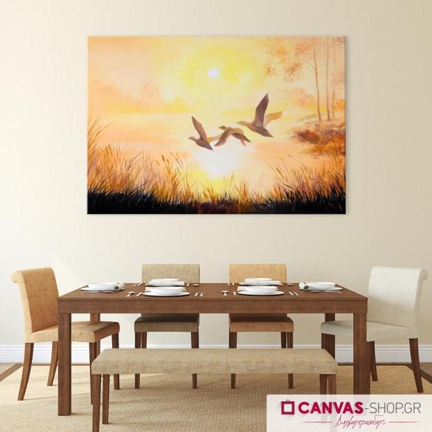Πουλιά, πίνακας σε καμβά