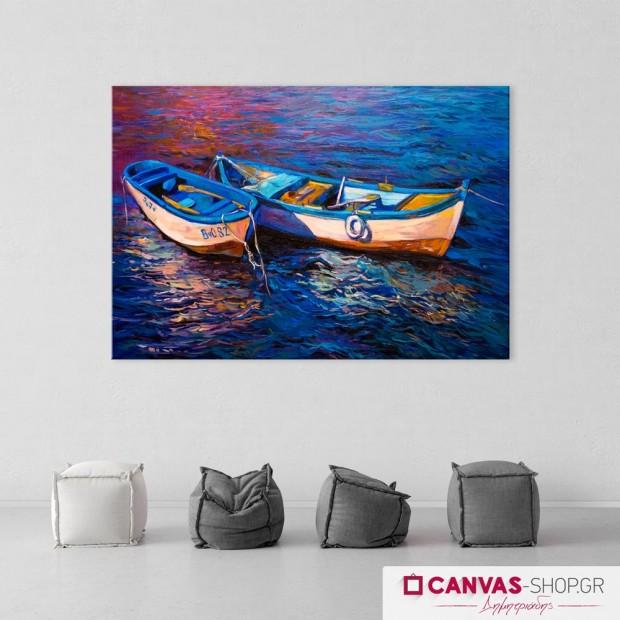 Βάρκες, πίνακας σε καμβά