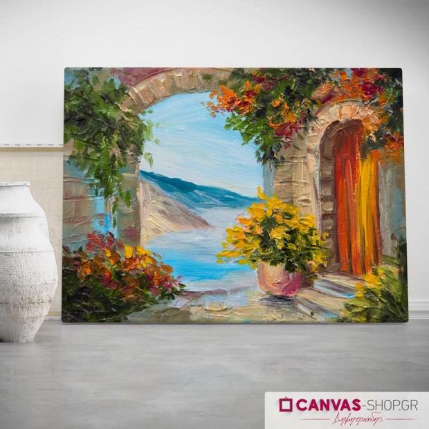 Αυλή με Θέα, πίνακας σε καμβά