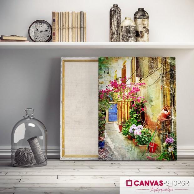 Αυλή με Λουλούδια , πίνακας σε καμβά