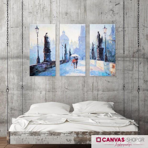 Βόλτα στην βροχή, τρίπτυχος πίνακας σε καμβά