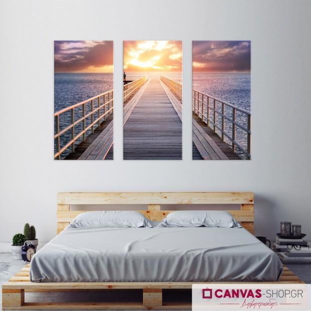 Αποβάθρα - Ηλιοβασίλεμα, τρίπτυχος πίνακας σε καμβά