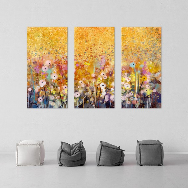 Λουλούδια, τρίπτυχος πίνακας σε καμβά