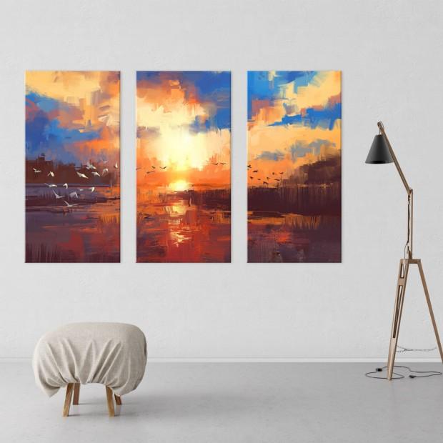 Ηλιοβασίλεμα, τρίπτυχος πίνακας σε καμβά