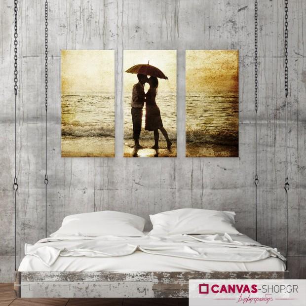 Ζευγάρι με Ομπρέλα, τρίπτυχος πίνακας σε καμβά