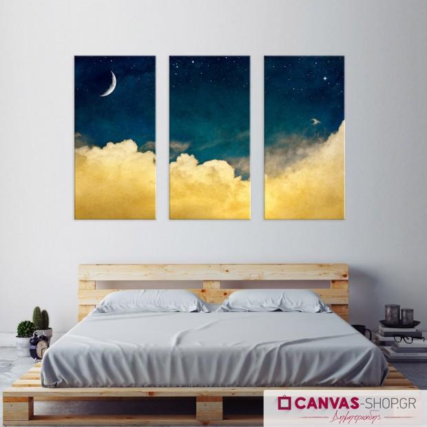 Ουρανός τη Νύχτα, τρίπτυχος πίνακας σε καμβά