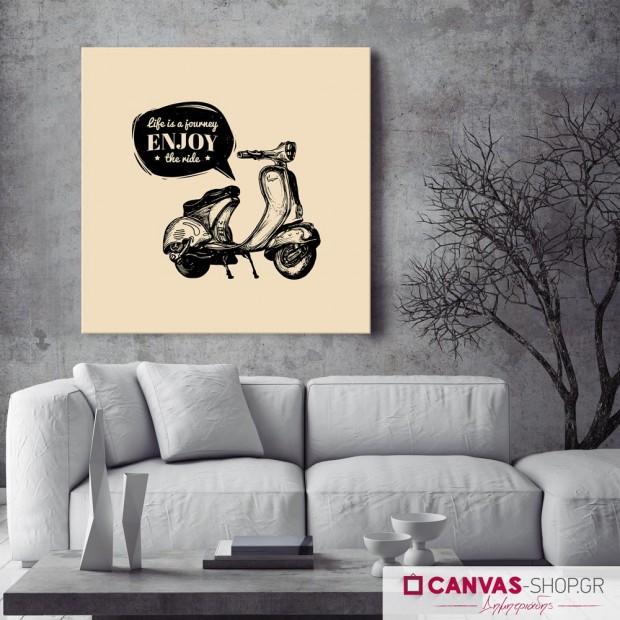 "Vespa ""Enjoy the ride"", πίνακας σε καμβά"