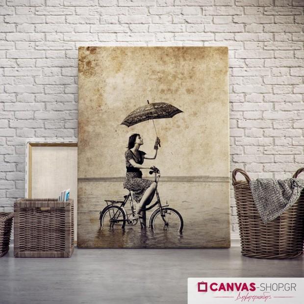 Vintage Κοπέλα με Ποδήλατο, πίνακας σε καμβά